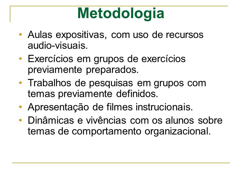 Metodologia Aulas expositivas, com uso de recursos audio-visuais.