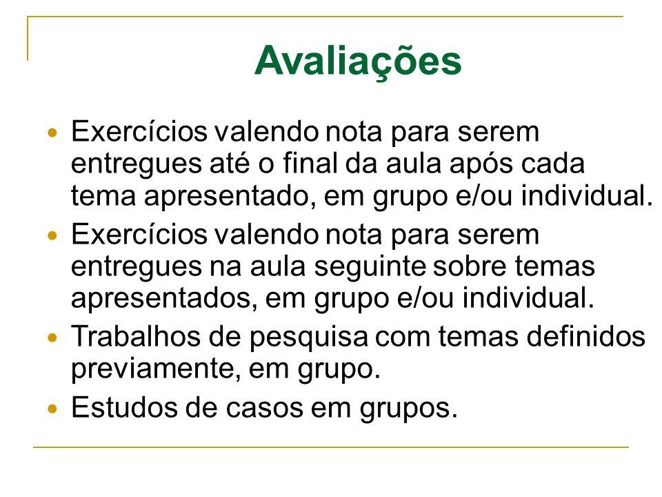 Avaliações Exercícios valendo nota para serem entregues até o final da aula após cada tema apresentado, em grupo e/ou individual.