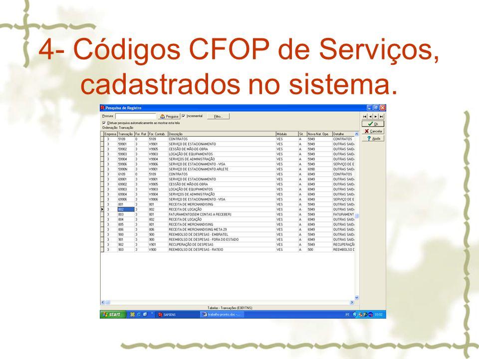4- Códigos CFOP de Serviços, cadastrados no sistema.