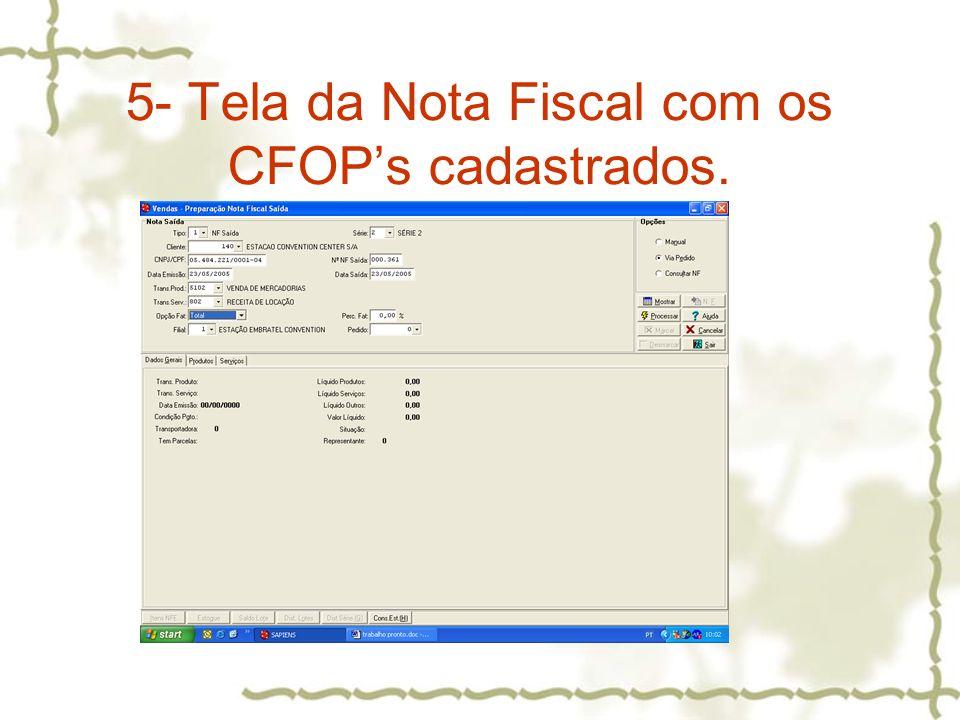 5- Tela da Nota Fiscal com os CFOP's cadastrados.