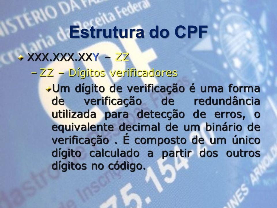 Estrutura do CPF XXX.XXX.XXY – ZZ ZZ – Dígitos verificadores