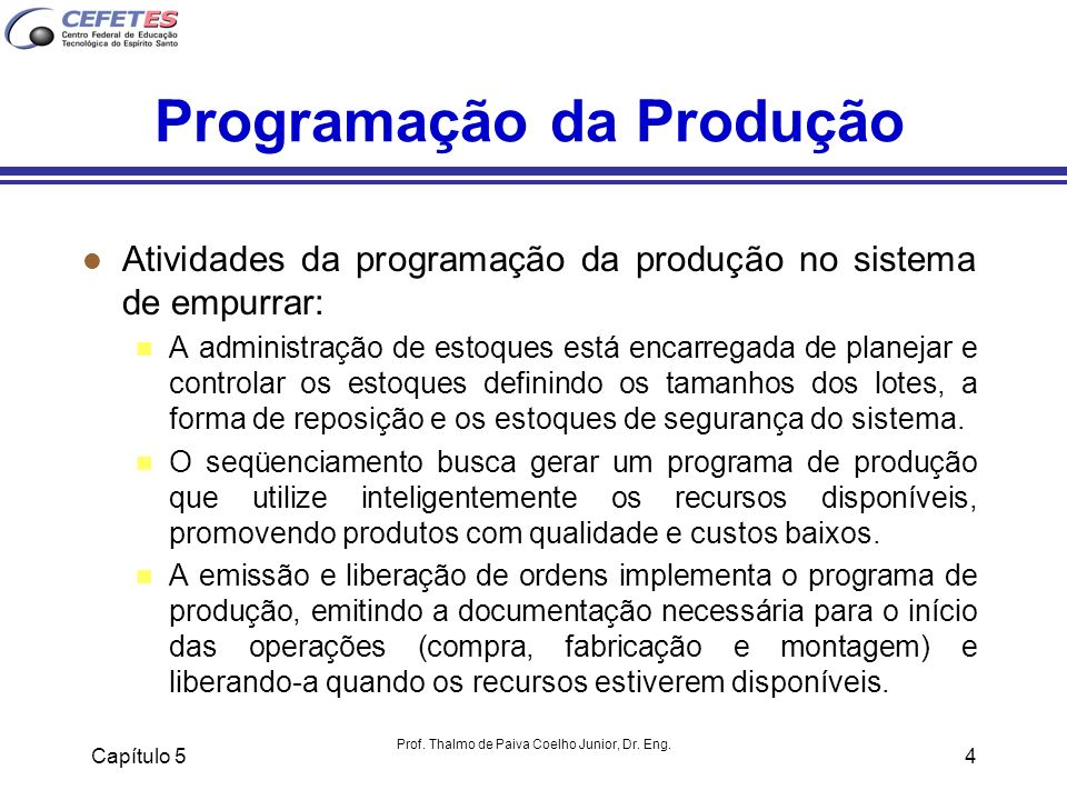 Programação da Produção
