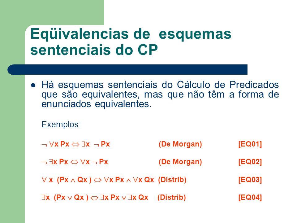 Eqüivalencias de esquemas sentenciais do CP