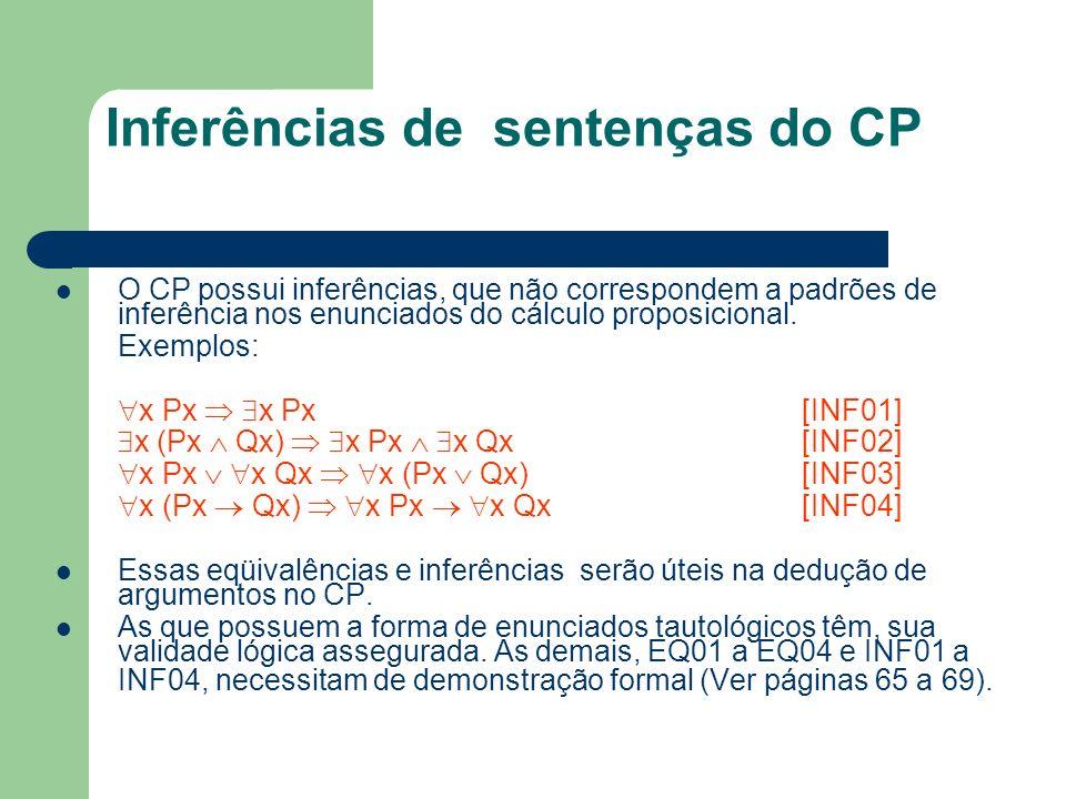 Inferências de sentenças do CP