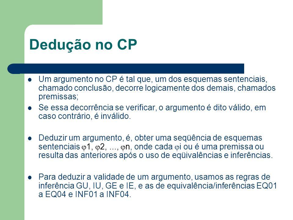 Dedução no CP Um argumento no CP é tal que, um dos esquemas sentenciais, chamado conclusão, decorre logicamente dos demais, chamados premissas;
