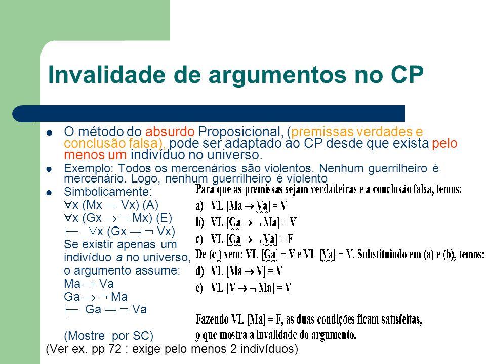 Invalidade de argumentos no CP
