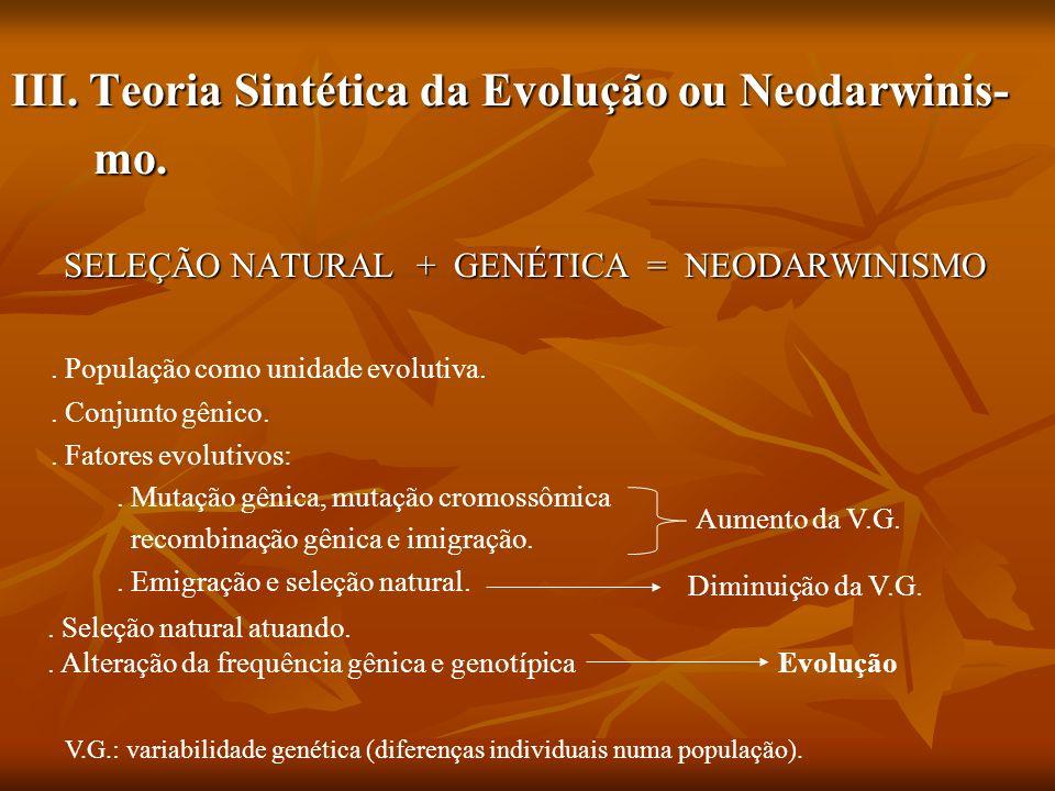 III. Teoria Sintética da Evolução ou Neodarwinis- mo.