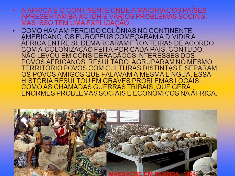 A ÁFRICA É O CONTINENTE ONDE A MAIORIA DOS PAÍSES APRESENTAM BAIXO IDH E VÁRIOS PROBLEMAS SOCIAIS, MAS ISSO TEM UMA EXPLICAÇÃO.