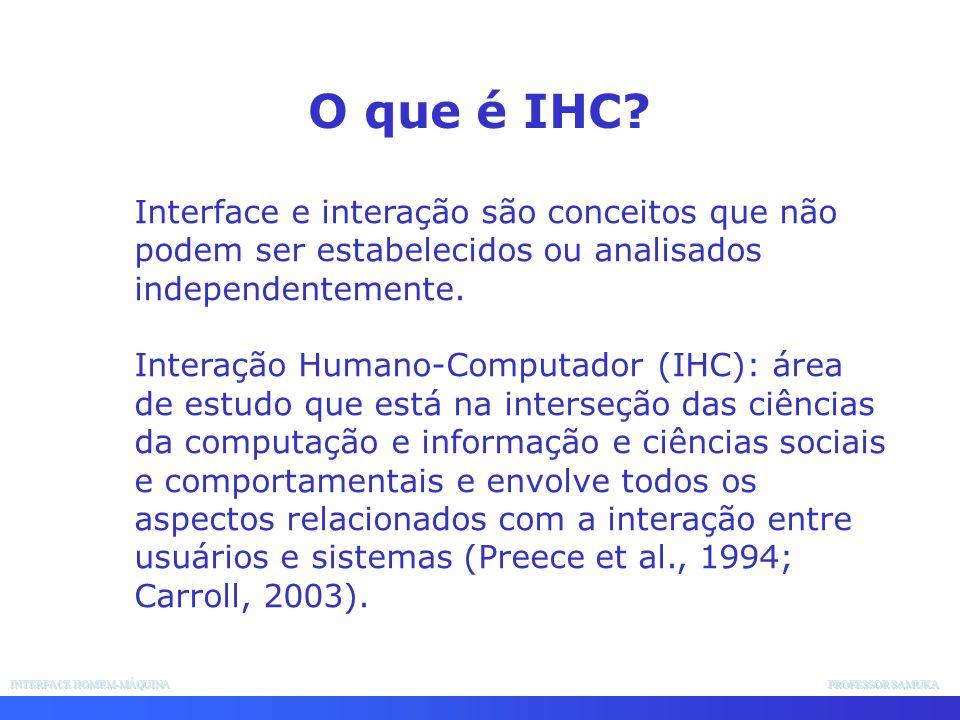 O que é IHC Interface e interação são conceitos que não podem ser estabelecidos ou analisados independentemente.