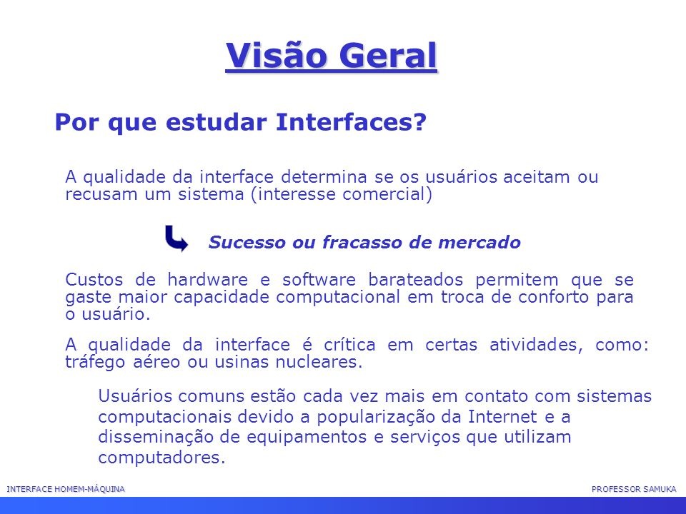 Visão Geral Por que estudar Interfaces