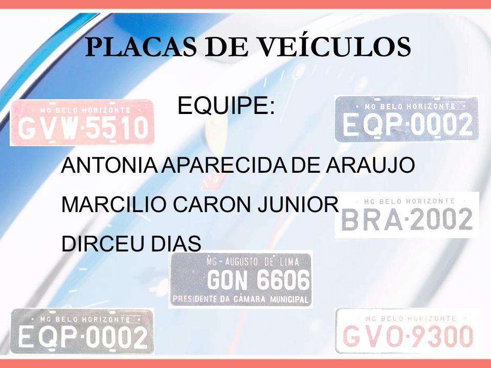 PLACAS DE VEÍCULOS EQUIPE: ANTONIA APARECIDA DE ARAUJO