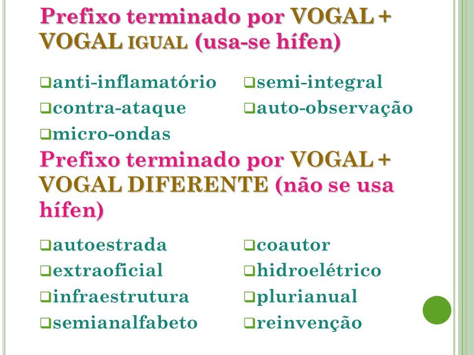 Prefixo terminado por VOGAL + VOGAL igual (usa-se hífen)