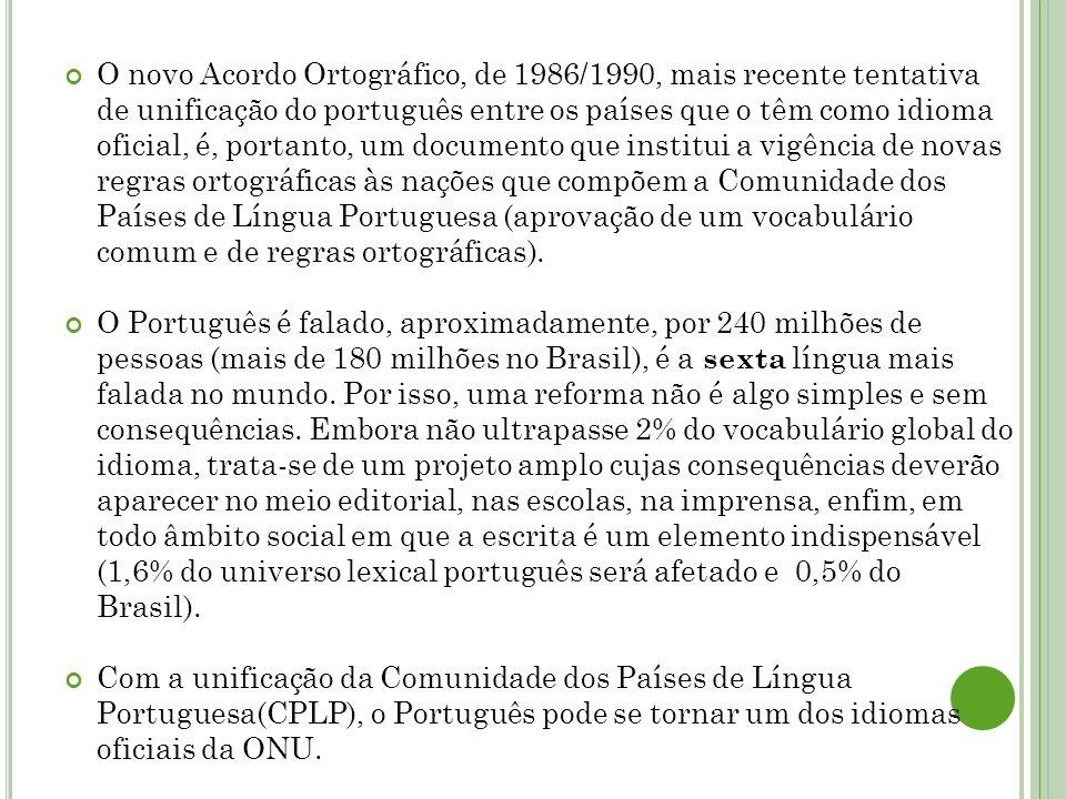 O novo Acordo Ortográfico, de 1986/1990, mais recente tentativa de unificação do português entre os países que o têm como idioma oficial, é, portanto, um documento que institui a vigência de novas regras ortográficas às nações que compõem a Comunidade dos Países de Língua Portuguesa (aprovação de um vocabulário comum e de regras ortográficas).