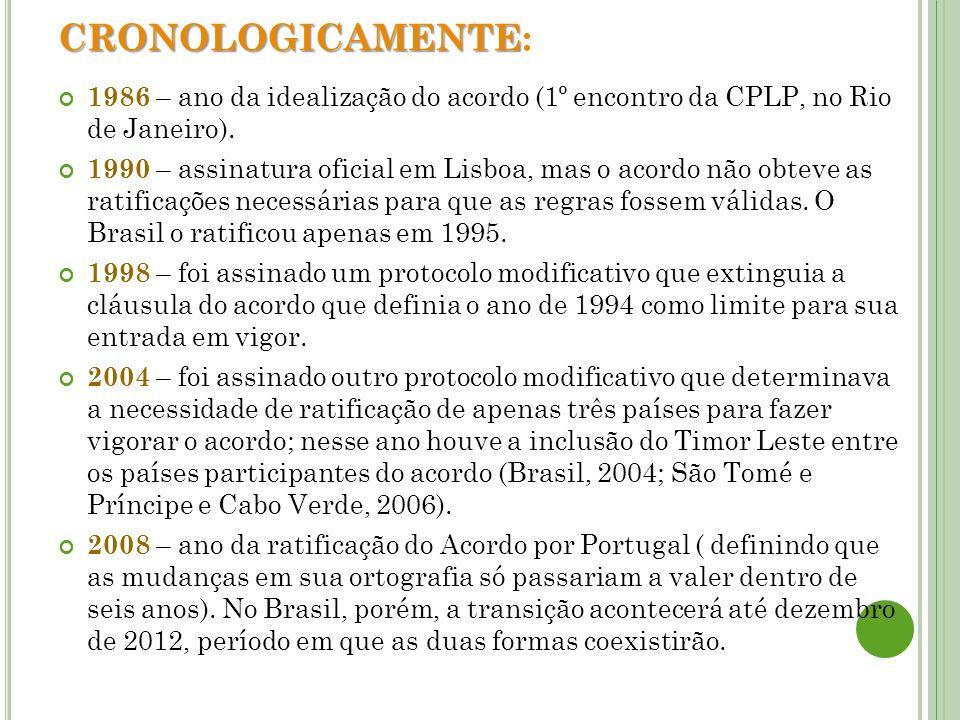CRONOLOGICAMENTE:1986 – ano da idealização do acordo (1º encontro da CPLP, no Rio de Janeiro).