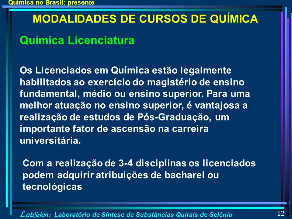 MODALIDADES DE CURSOS DE QUÍMICA
