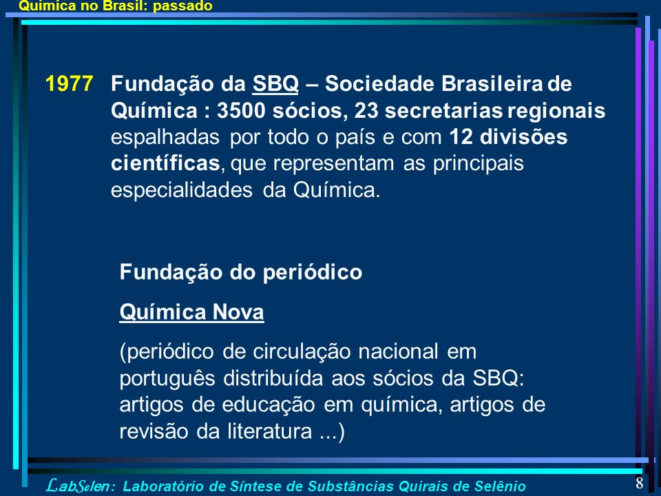 Química no Brasil: passado