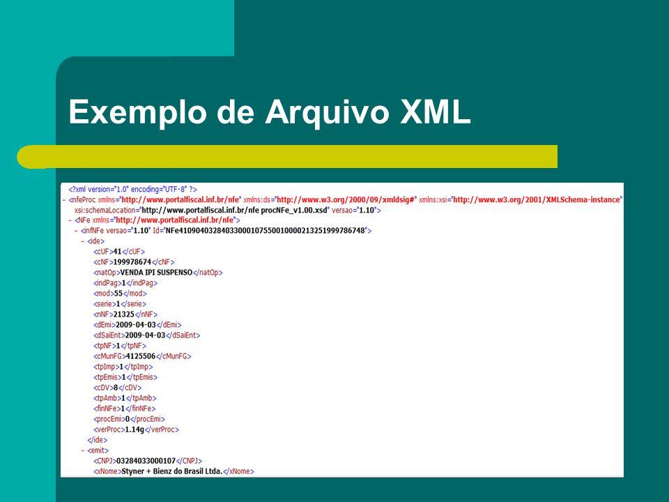 Exemplo de Arquivo XML