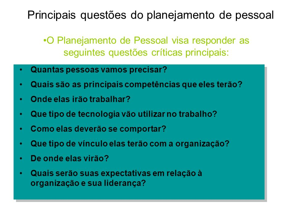 Principais questões do planejamento de pessoal