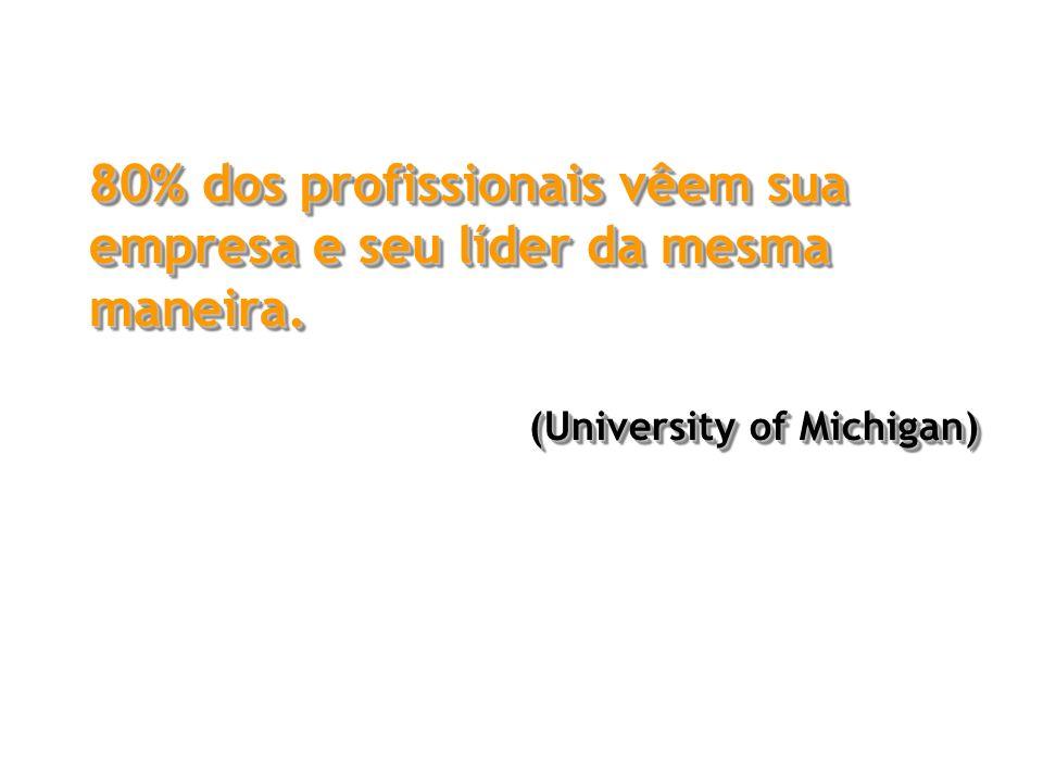 80% dos profissionais vêem sua empresa e seu líder da mesma maneira.
