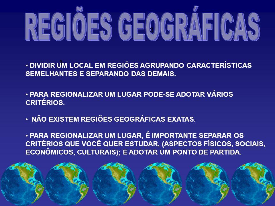 REGIÕES GEOGRÁFICAS 3. 1. DIVIDIR UM LOCAL EM REGIÕES AGRUPANDO CARACTERÍSTICAS SEMELHANTES E SEPARANDO DAS DEMAIS.