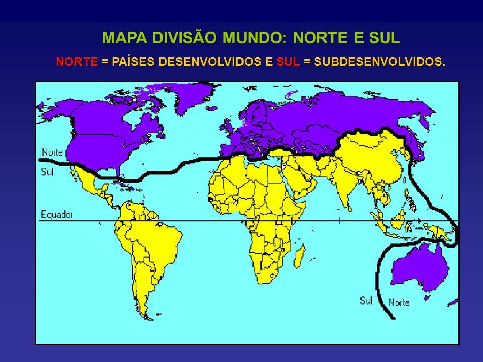 MAPA DIVISÃO MUNDO: NORTE E SUL