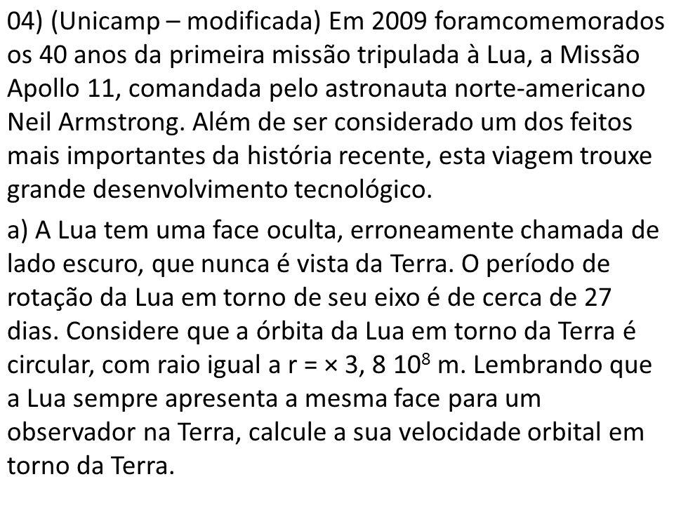 04) (Unicamp – modificada) Em 2009 foramcomemorados os 40 anos da primeira missão tripulada à Lua, a Missão Apollo 11, comandada pelo astronauta norte-americano Neil Armstrong.