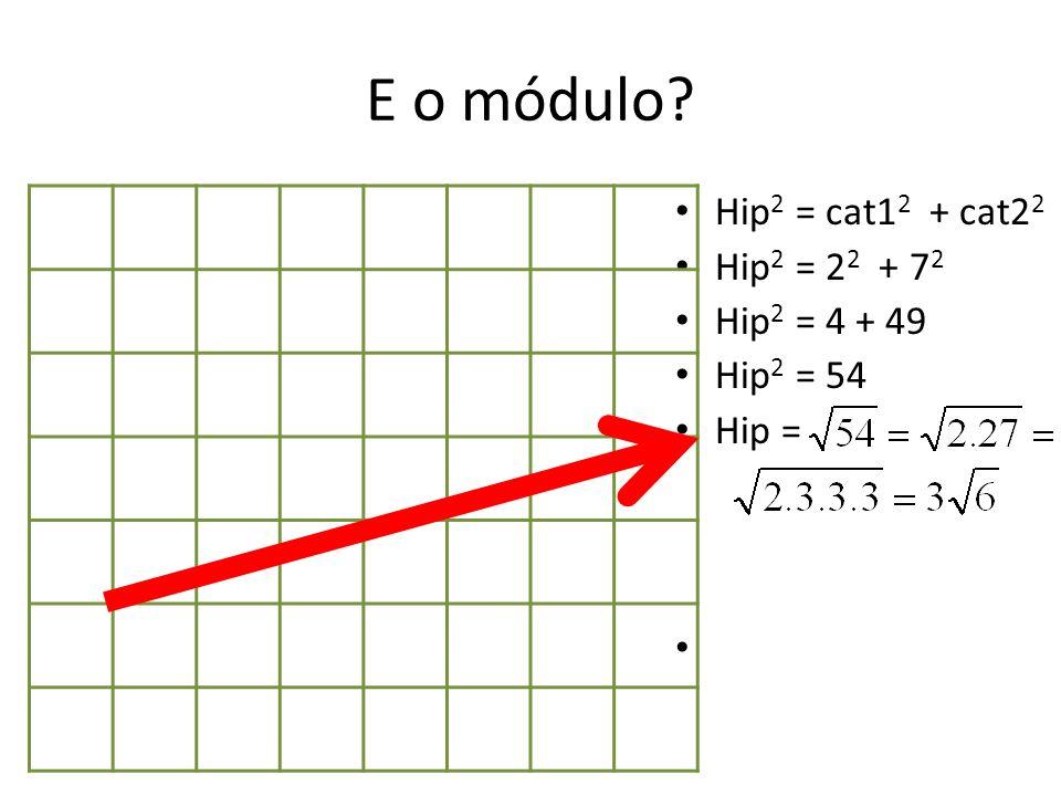 E o módulo Hip2 = cat12 + cat22 Hip2 = 22 + 72 Hip2 = 4 + 49