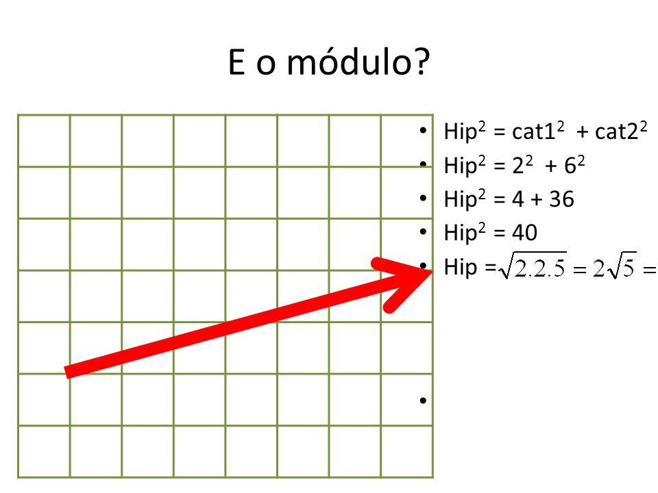 E o módulo Hip2 = cat12 + cat22 Hip2 = 22 + 62 Hip2 = 4 + 36