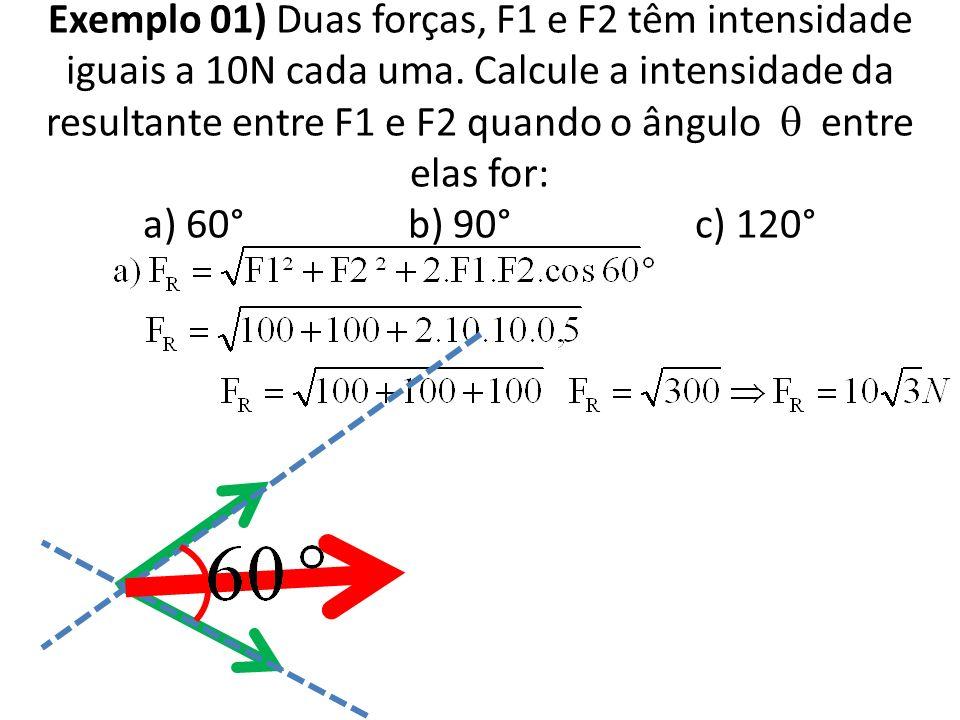 Exemplo 01) Duas forças, F1 e F2 têm intensidade iguais a 10N cada uma