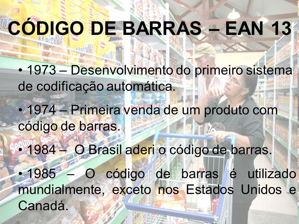CÓDIGO DE BARRAS – EAN 13 1973 – Desenvolvimento do primeiro sistema de codificação automática.