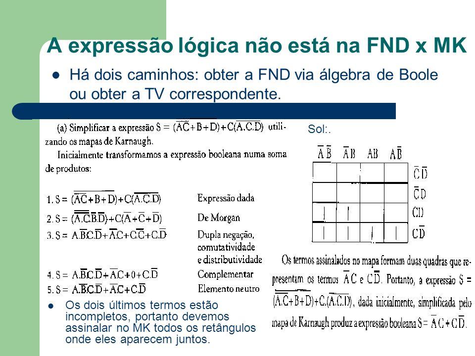 A expressão lógica não está na FND x MK