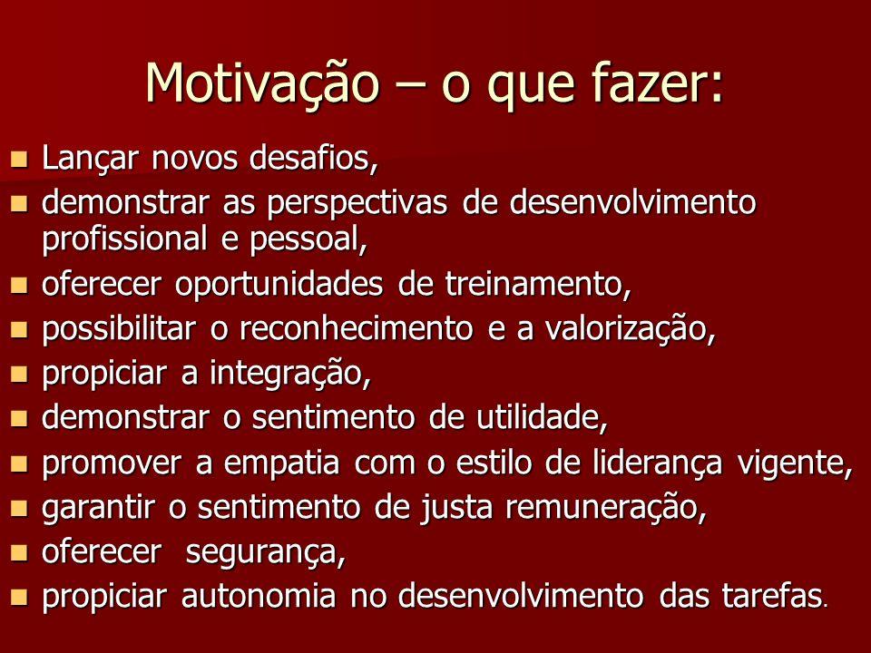 Motivação – o que fazer:
