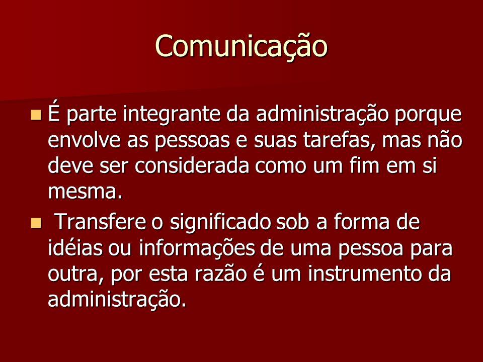 Comunicação É parte integrante da administração porque envolve as pessoas e suas tarefas, mas não deve ser considerada como um fim em si mesma.