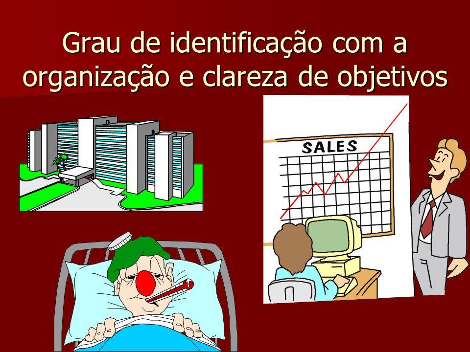 Grau de identificação com a organização e clareza de objetivos