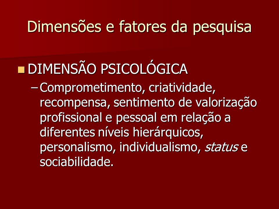 Dimensões e fatores da pesquisa
