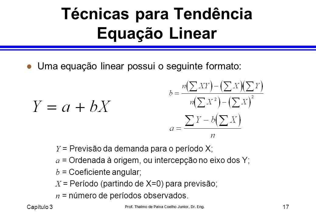 Técnicas para Tendência Equação Linear