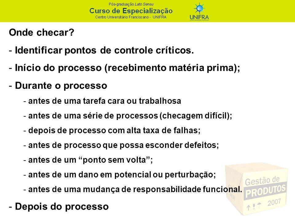 Identificar pontos de controle críticos.