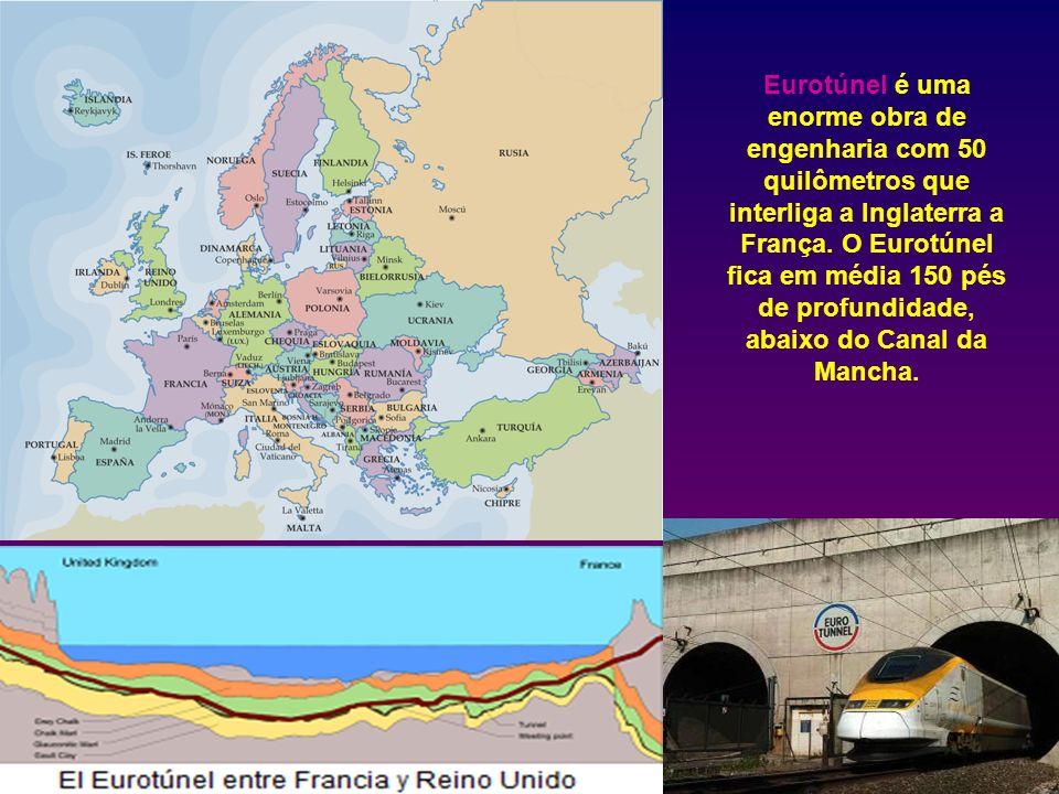 Eurotúnel é uma enorme obra de engenharia com 50 quilômetros que interliga a Inglaterra a França.