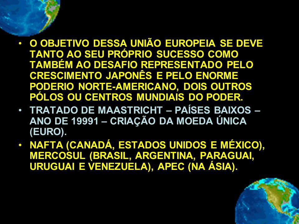O OBJETIVO DESSA UNIÃO EUROPEIA SE DEVE TANTO AO SEU PRÓPRIO SUCESSO COMO TAMBÉM AO DESAFIO REPRESENTADO PELO CRESCIMENTO JAPONÊS E PELO ENORME PODERIO NORTE-AMERICANO, DOIS OUTROS PÓLOS OU CENTROS MUNDIAIS DO PODER.