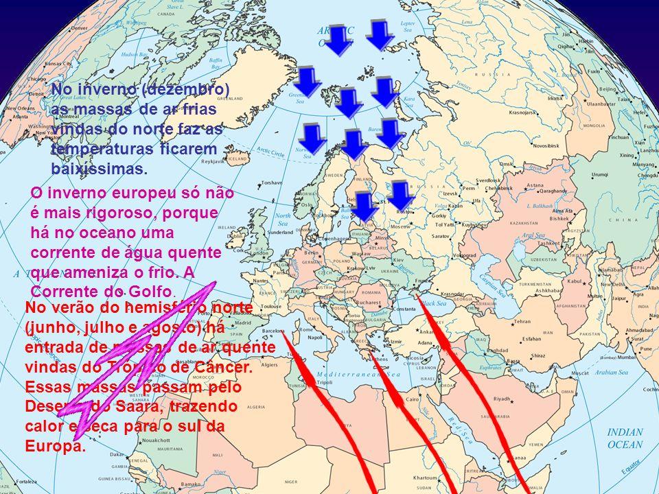 No inverno (dezembro) as massas de ar frias vindas do norte faz as temperaturas ficarem baixíssimas.