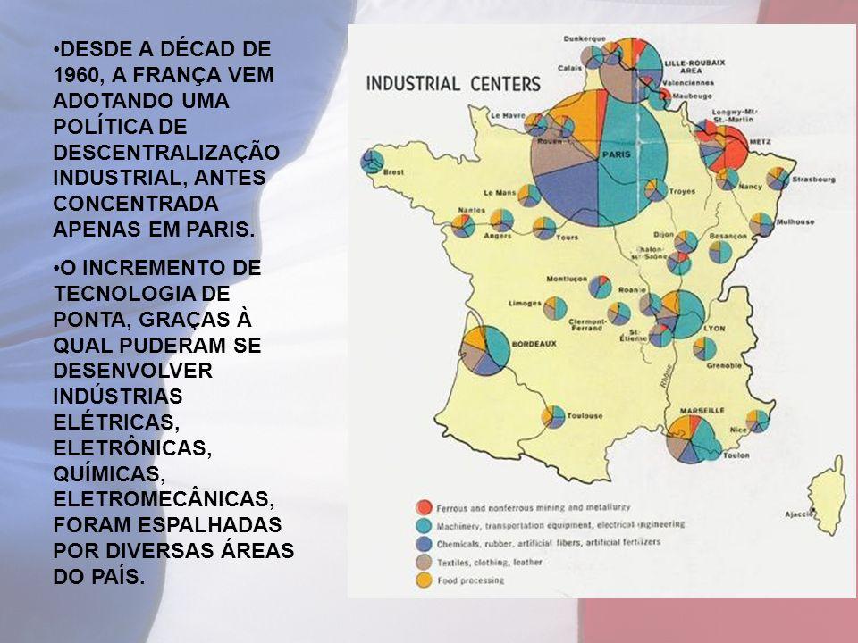 DESDE A DÉCAD DE 1960, A FRANÇA VEM ADOTANDO UMA POLÍTICA DE DESCENTRALIZAÇÃO INDUSTRIAL, ANTES CONCENTRADA APENAS EM PARIS.