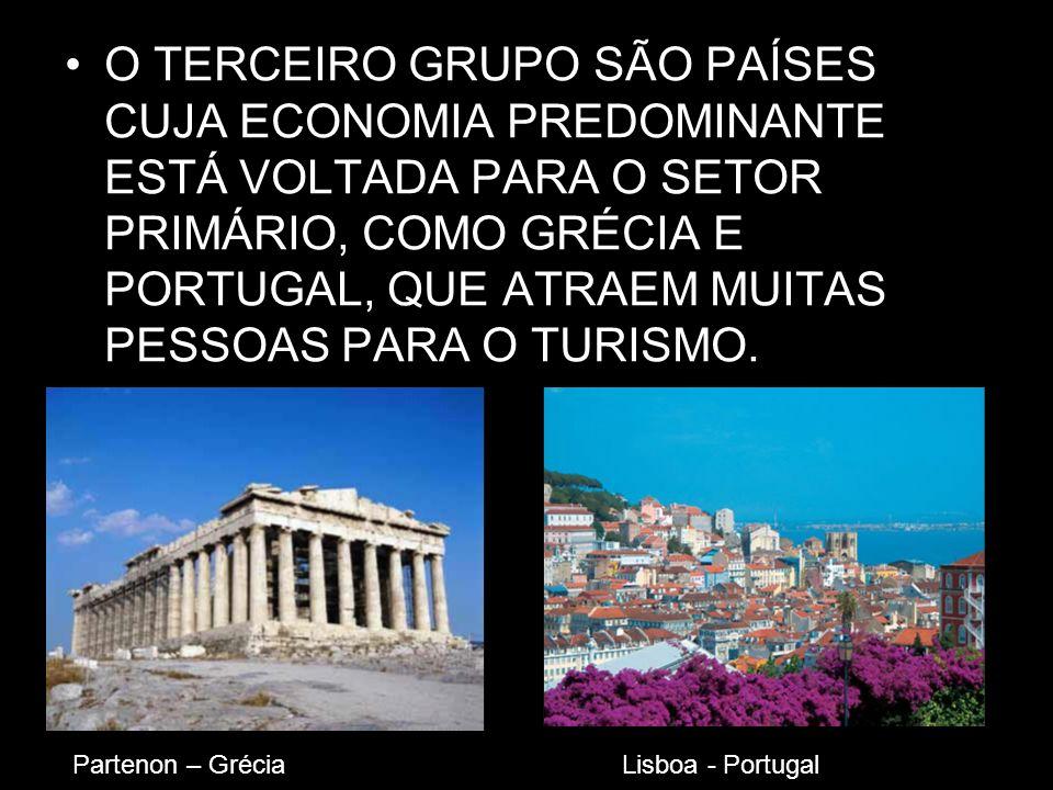 O TERCEIRO GRUPO SÃO PAÍSES CUJA ECONOMIA PREDOMINANTE ESTÁ VOLTADA PARA O SETOR PRIMÁRIO, COMO GRÉCIA E PORTUGAL, QUE ATRAEM MUITAS PESSOAS PARA O TURISMO.