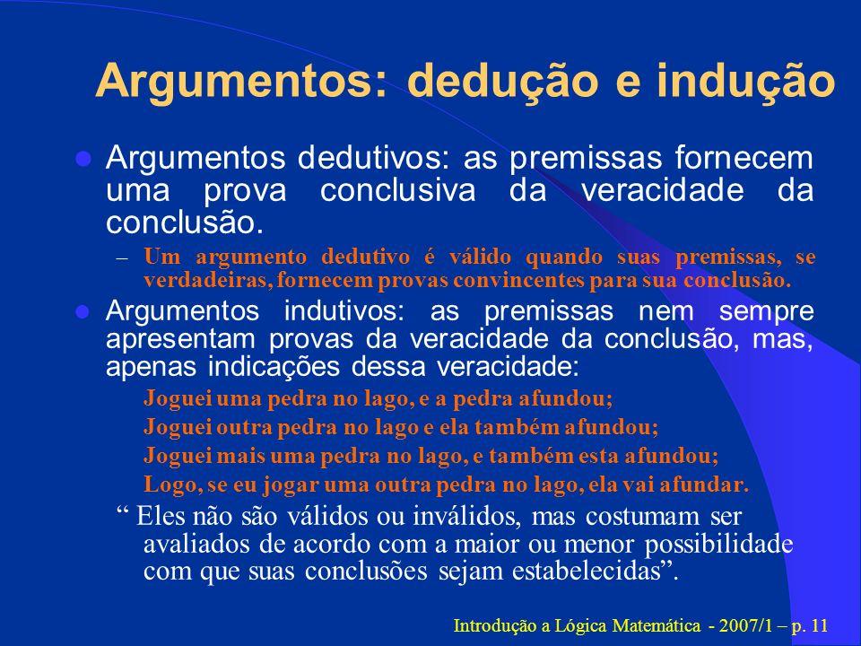 Argumentos: dedução e indução
