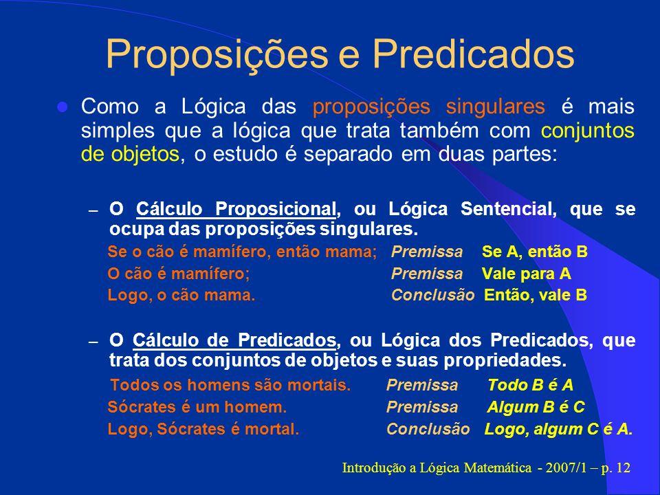 Proposições e Predicados