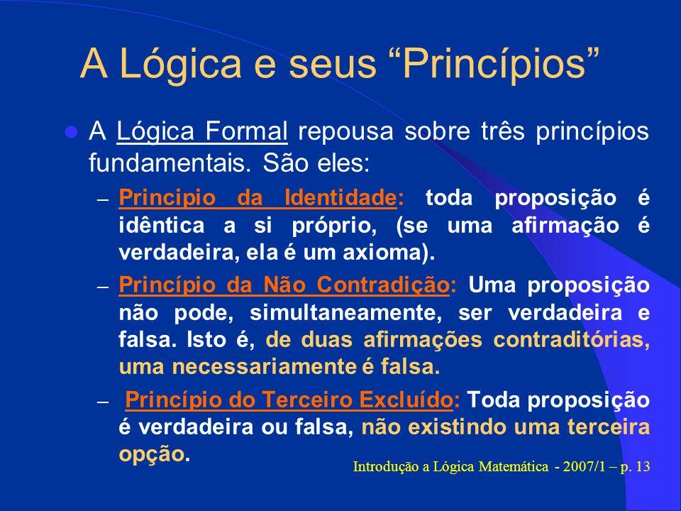 A Lógica e seus Princípios