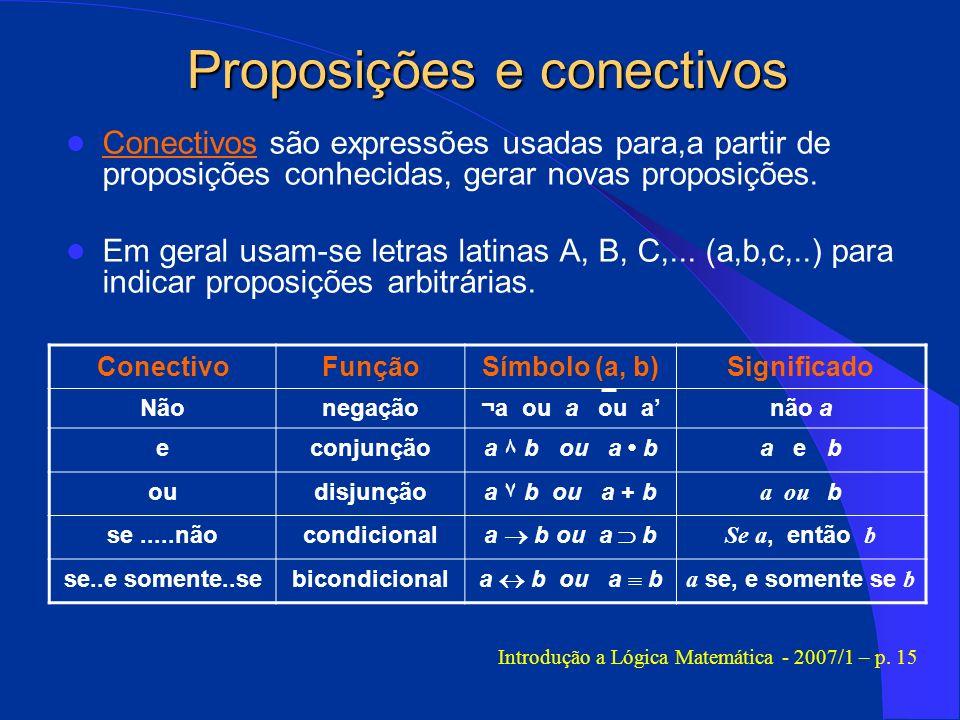 Proposições e conectivos