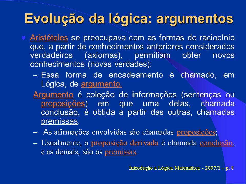 Evolução da lógica: argumentos