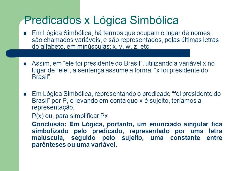 Predicados x Lógica Simbólica