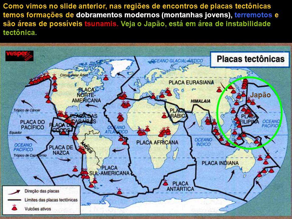 Como vimos no slide anterior, nas regiões de encontros de placas tectônicas temos formações de dobramentos modernos (montanhas jovens), terremotos e são áreas de possíveis tsunamis. Veja o Japão, está em área de instabilidade tectônica.