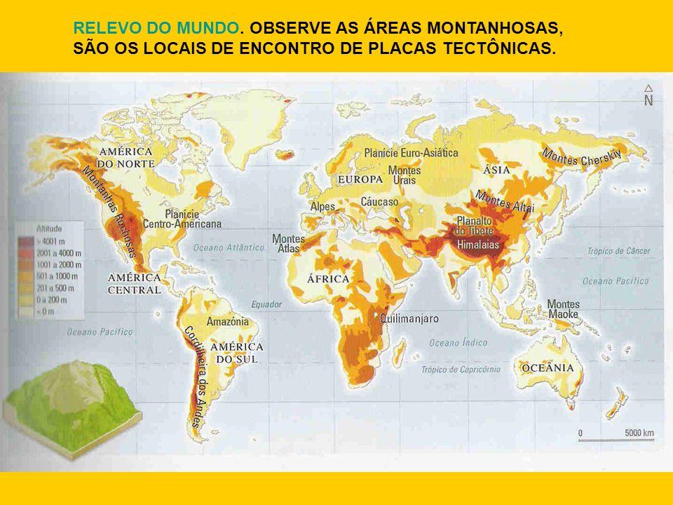 RELEVO DO MUNDO. OBSERVE AS ÁREAS MONTANHOSAS, SÃO OS LOCAIS DE ENCONTRO DE PLACAS TECTÔNICAS.